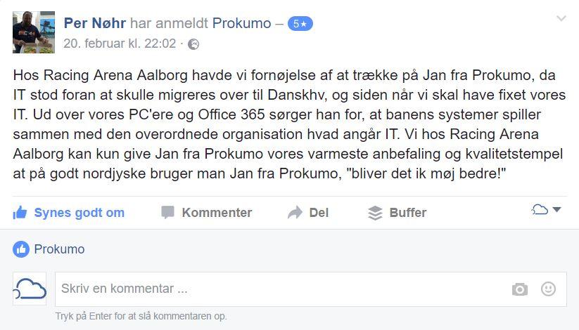 Aalborg Væddeløbsbane anbefaler også Prokumo fordi...