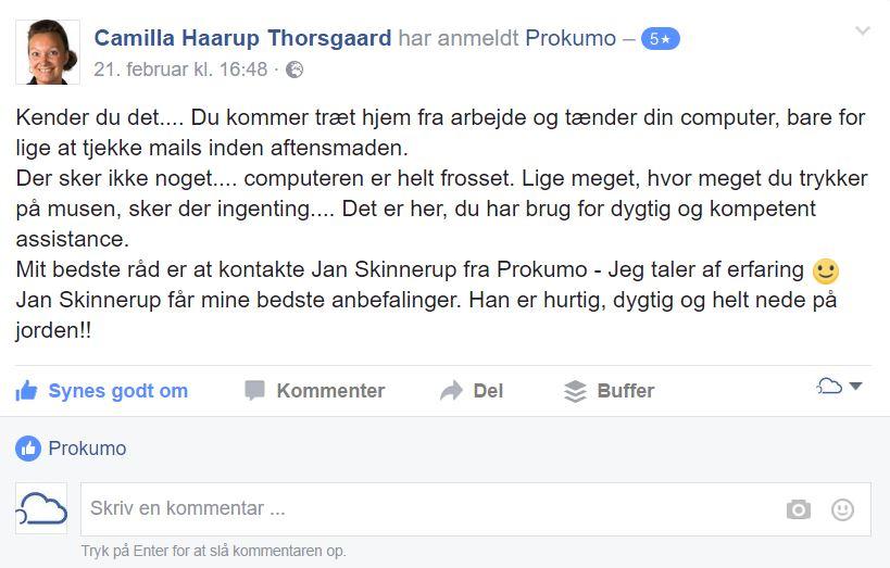 Camilla fra Hammel Bilglas siger god for Jan fra Prokumo fordi...