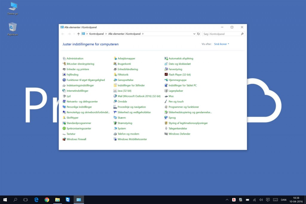 Det velkendte kontrolpanel i Windows 10